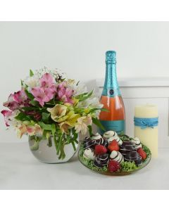 Posh Delights Champagne & Flower Gift