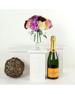 Color-Crazed Carnations Champagne & Flower Gift