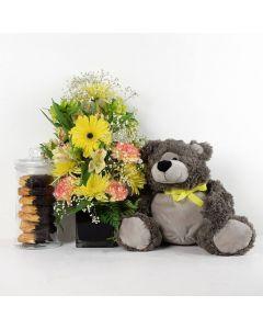 Floral Sunrise Mixed Bouquet & Plush Bear