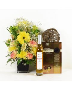 Beyond Brilliant Mixed Floral Bouquet Wine Gift