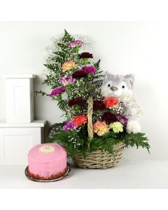Birthday Bash Cake & Flower Gift