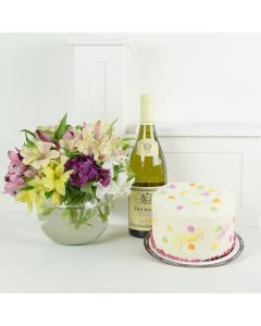 Birthday Bash Lilies Wine & Flower Gift