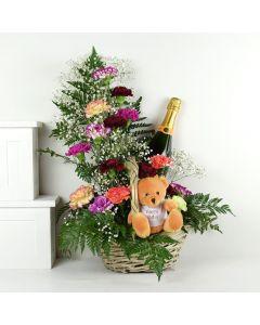 Birthday Bear Flowers & Champagne Gift