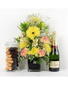 Floral Sunrise & Champagne Mixed Bouquet Floral Gift Set