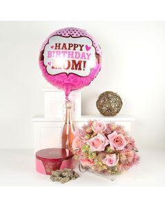 """Happy Birthday Mom"" Flowers & Champagne Gift"