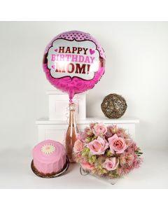 """Happy Birthday Mom"" Flowers & Prosecco Gift"