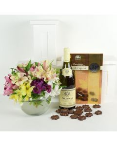 Livewire Lilies Chocolate & Wine Flower Gift