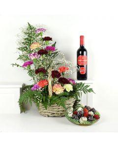 Wine & Dine Chocolate Dipped Strawberries & Flower Gift