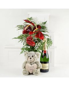 """""""With All My Heart"""" Flowers & Champagne Gift"""