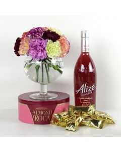 """""""You're On My Mind"""" Flowers & Wine Gift"""