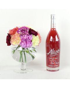 Color-Crazed Carnations Liquor & Flower Gift