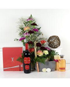 Thymes Beauty Wine & Flower Gift