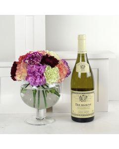 Color-Crazed Carnations Wine & Flower Gift