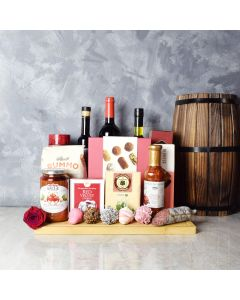 Meadowvale Wine Gift Basket, wine gift baskets, gourmet gift baskets, Valentine's Day gifts, gift baskets, romance