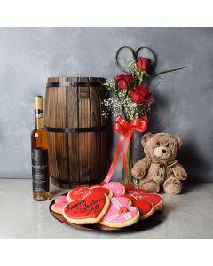 Swansea Valentine's Day Basket, wine gift baskets, floral gift baskets, Valentine's Day gifts, gift baskets, romance