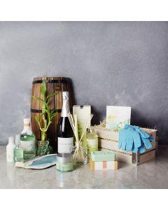 Sandalwood & Eucalyptus Spa Gift Crate, champagne gift baskets, spa gift baskets, spa gifts, gift baskets