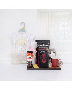 HUGS TO THE BABY GIRL GIFT BASKET, baby girl gift basket, welcome home baby gifts, new parent gifts