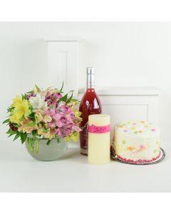 Birthday Bash Lilies Liquor & Flower Gift