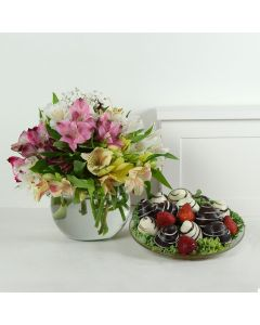 Livewire Lilies Chocolate Dipped Strawberries & Flower Gift
