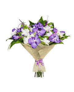 Lilac & Ivory Blooms Orchid Bouquet